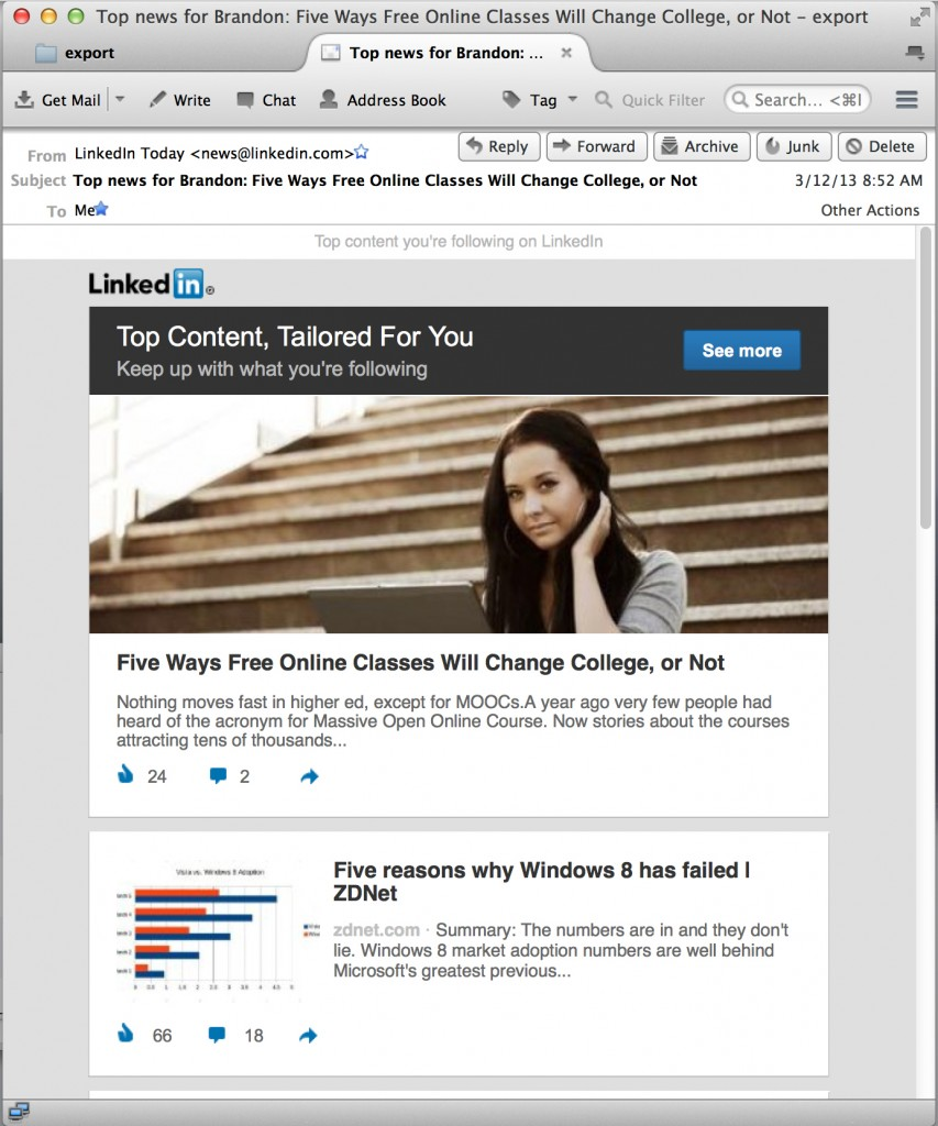 linkedin email 853x1024 Track User Clicks when Email Phishing