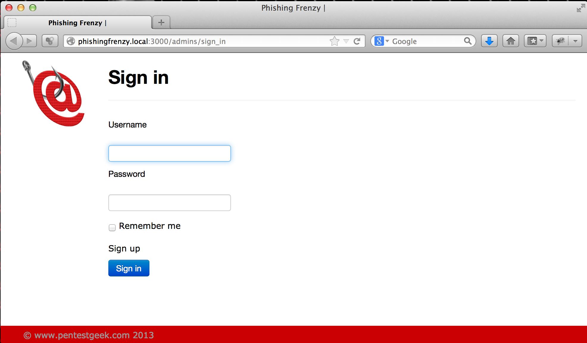 pf login Phishing Frenzy: Installing the Monster