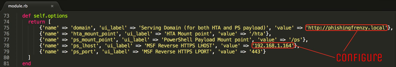 BeEF Configure Default Module Values