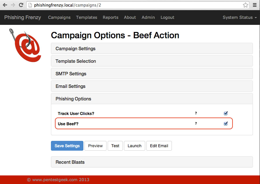 Phishing Frenzy BeEF Campaign Options